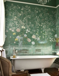 With this beautiful hand painted mural, it's like taking a bath in a field of flowers.
