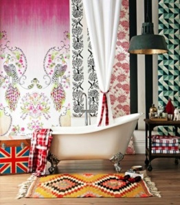 Clawfoot Peacocks - I love the mix of different patterns and colors in this boho vintage inspired bathroom.