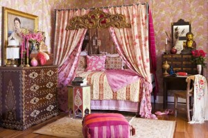 High drama in this bohemian boudoir with an Eastern influence